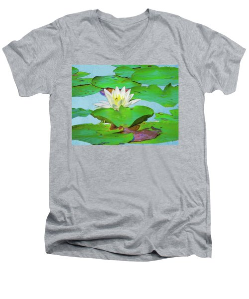 A Single Water Lily Blossom Men's V-Neck T-Shirt