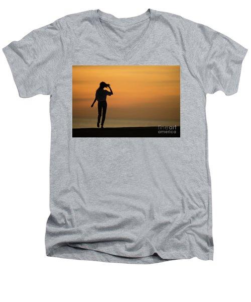 A Slim Woman Walking At Sunset Men's V-Neck T-Shirt