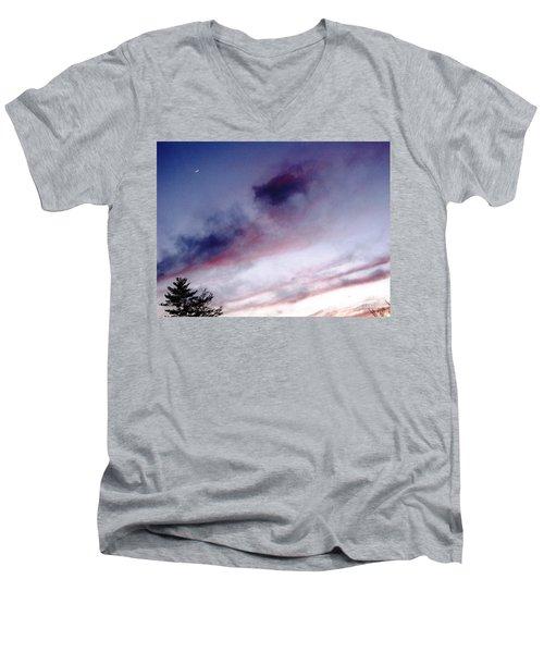 A Sliver Of Moon Men's V-Neck T-Shirt by Melissa Stoudt