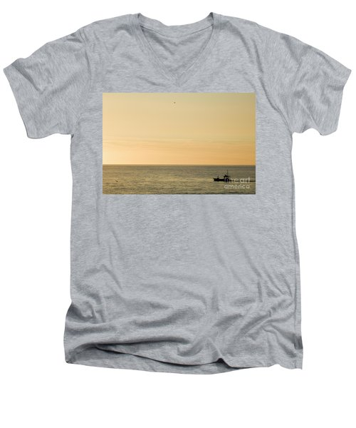 A Small Fishing Boat In Sunset Over Cardigan Bay Aberystwyth Ceredigion West Wales Men's V-Neck T-Shirt