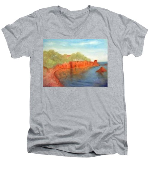 A Small Inlet Bay With Red Orange Rocks Men's V-Neck T-Shirt