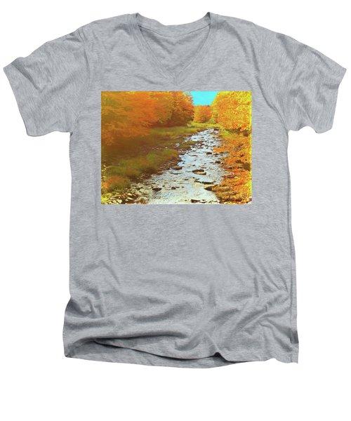 A Small Stream Bright Fall Color. Men's V-Neck T-Shirt