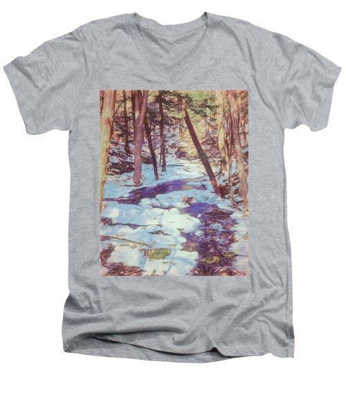 A Small Stream Meandering Through Winter Landscape. Men's V-Neck T-Shirt