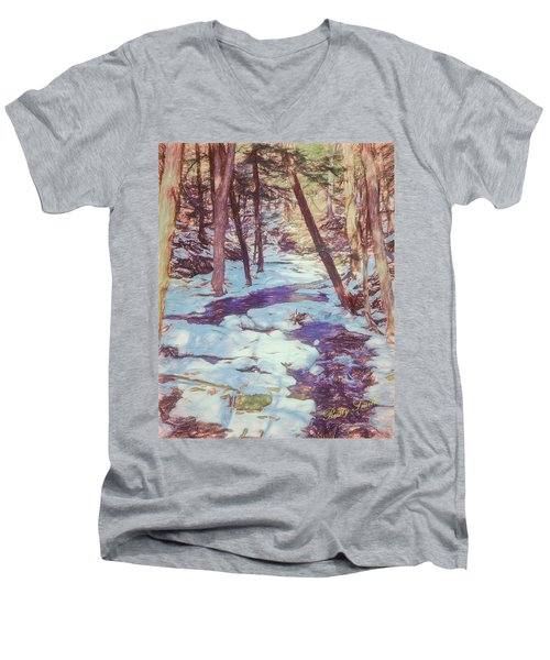 A Small Stream Meandering Through Winter Landscape. Men's V-Neck T-Shirt