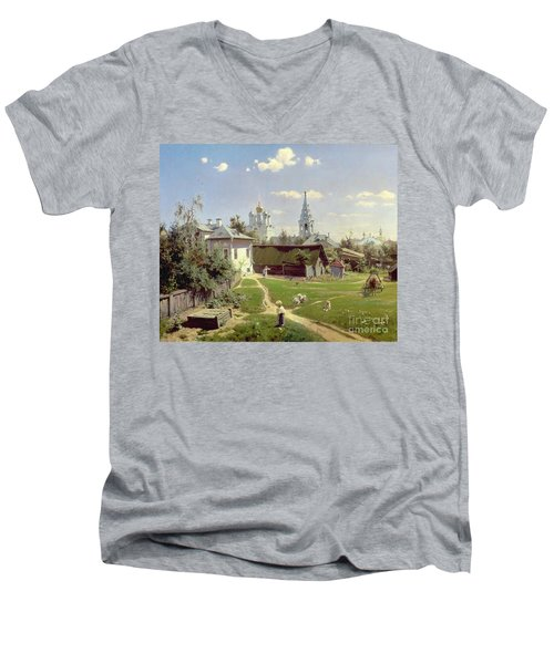 A Small Yard In Moscow Men's V-Neck T-Shirt by Vasilij Dmitrievich Polenov