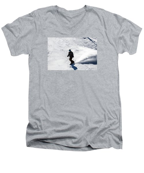 A Snowboarder Descends Aspen Mountain Men's V-Neck T-Shirt by Carol M Highsmith