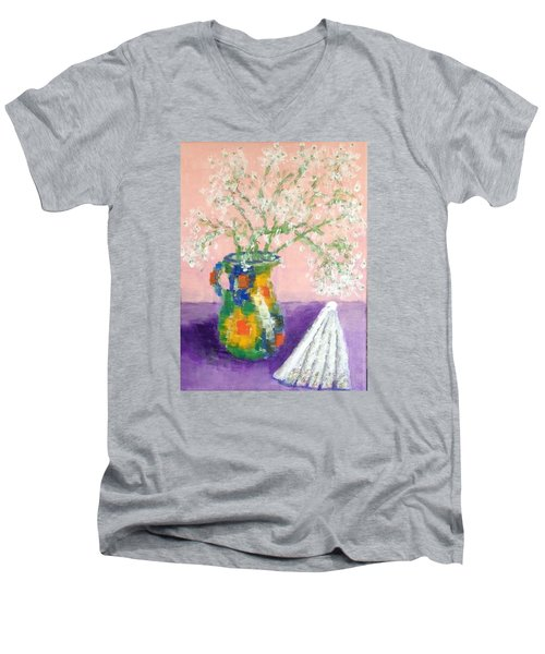 A Spanish Jar And A Fan Men's V-Neck T-Shirt by Tamara Savchenko