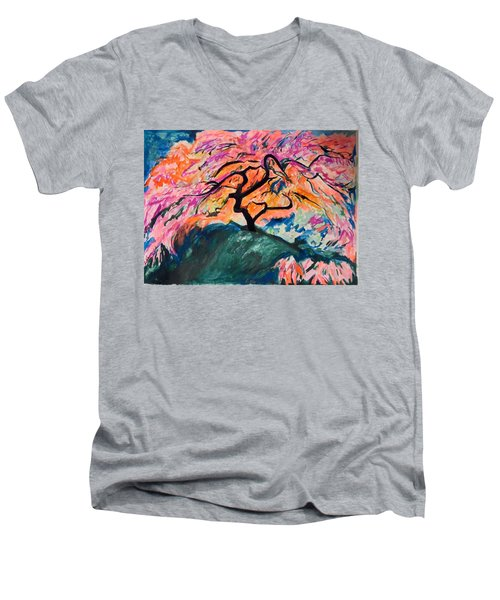 A Splendid Japanese Maple Tree Men's V-Neck T-Shirt by Esther Newman-Cohen