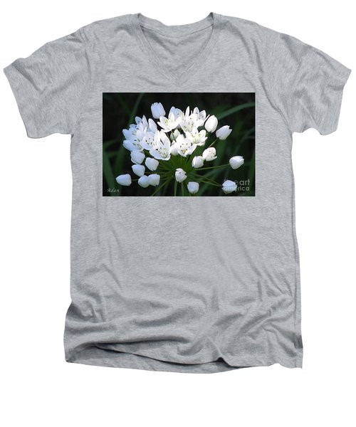 A Spray Of Wild Onions Men's V-Neck T-Shirt by Felipe Adan Lerma