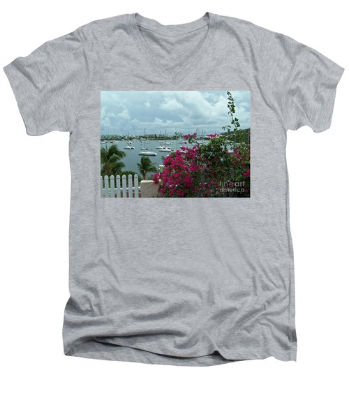 A St Maarten Marina Men's V-Neck T-Shirt by Carol  Bradley