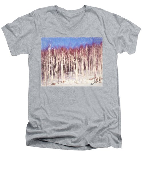 A Stand Of White Birch Trees In Winter. Men's V-Neck T-Shirt