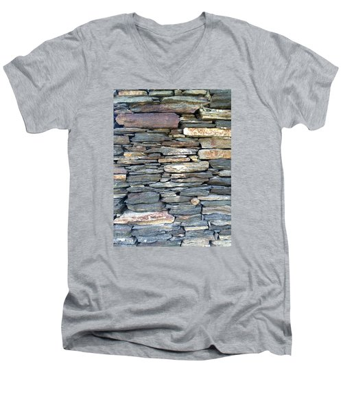 Men's V-Neck T-Shirt featuring the painting A Stone's Throw by Angela Annas