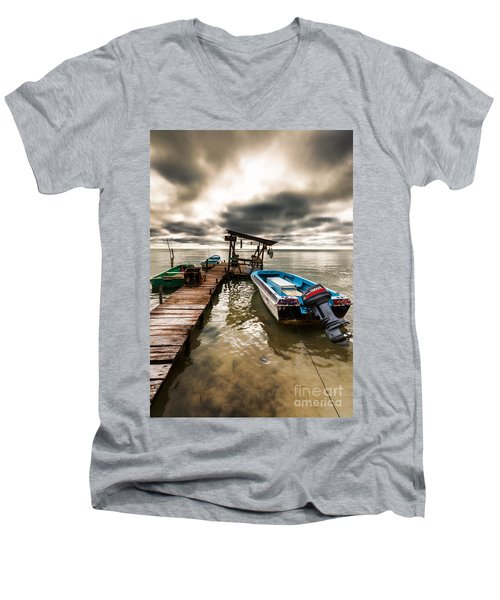 A Storm Brewing Men's V-Neck T-Shirt by Lawrence Burry