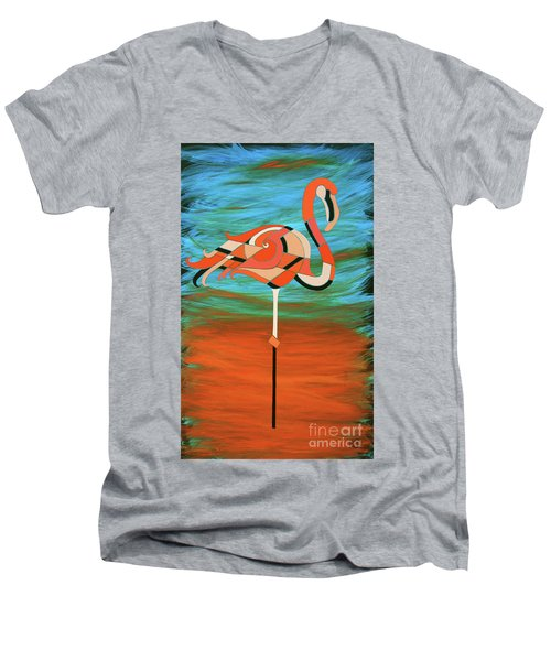 A Straight Up Flamingo Men's V-Neck T-Shirt