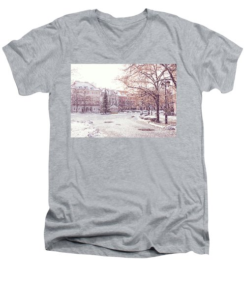 Men's V-Neck T-Shirt featuring the photograph A Street In Warsaw, Poland On A Snowy Day by Juli Scalzi