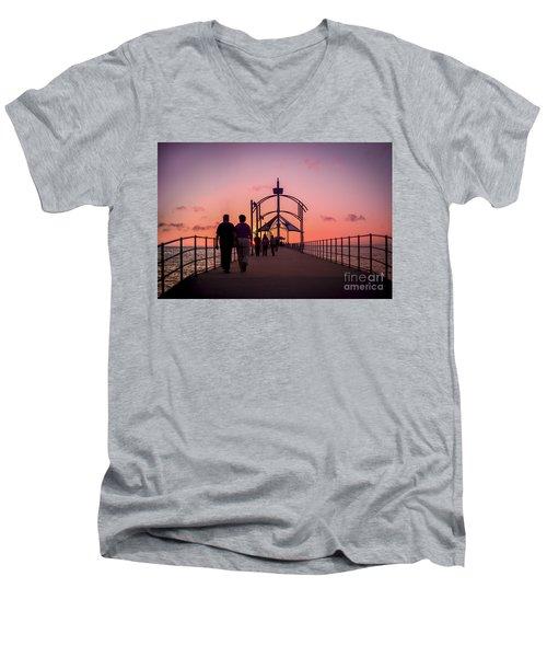 A Stroll Along Sunset Pier Men's V-Neck T-Shirt