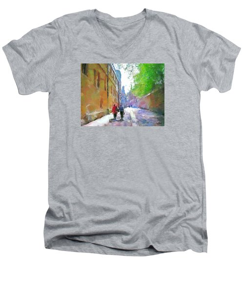 Men's V-Neck T-Shirt featuring the painting A Stroll In The Alley by Wayne Pascall
