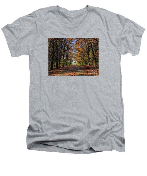 A Stroll Through Autumn Colors Men's V-Neck T-Shirt by Marcia Lee Jones