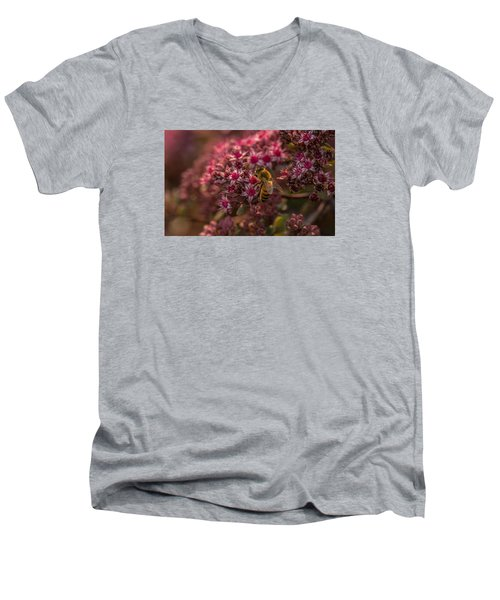 Men's V-Neck T-Shirt featuring the photograph A Summer Bee by Yeates Photography