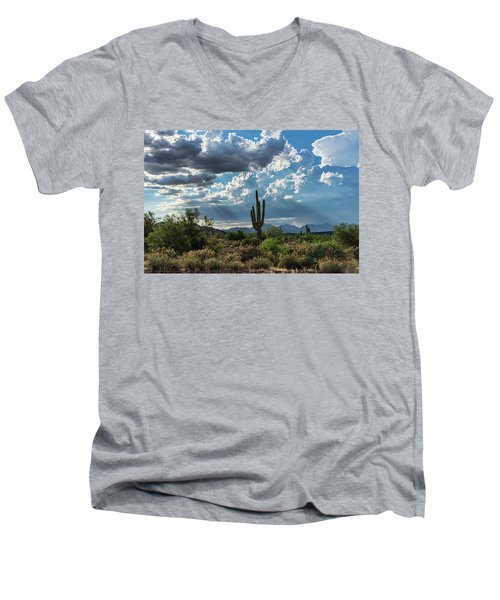 Men's V-Neck T-Shirt featuring the photograph A Summer Day In The Sonoran  by Saija Lehtonen