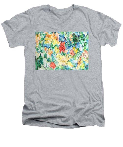 A Summer Garden Frolic Men's V-Neck T-Shirt by Esther Newman-Cohen