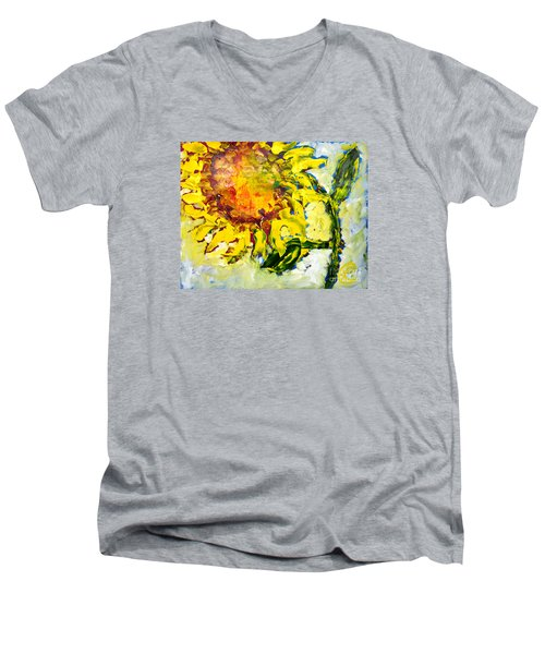 A Sunflower Greeting Men's V-Neck T-Shirt by Lynda Cookson