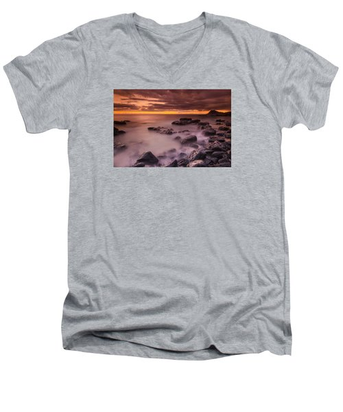 A Sunset At Track Beach Men's V-Neck T-Shirt
