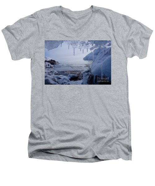 A Superior Ice Cave Men's V-Neck T-Shirt by Sandra Updyke