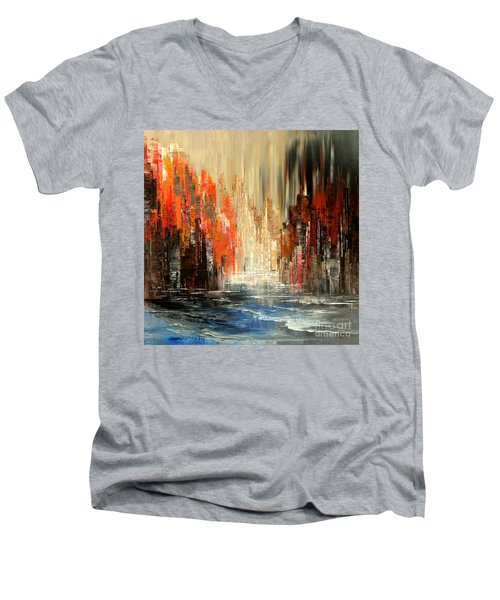 Men's V-Neck T-Shirt featuring the painting A Tale Of Two Cities by Tatiana Iliina