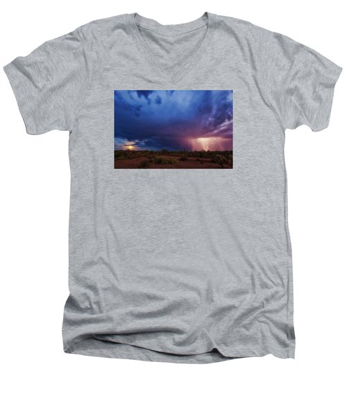 A Tale Of Two Nights Men's V-Neck T-Shirt by Rick Furmanek