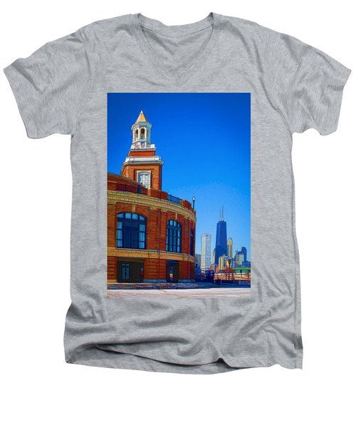 A Textured Navy Pier Men's V-Neck T-Shirt