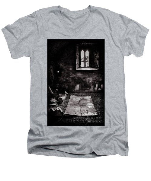Men's V-Neck T-Shirt featuring the photograph A Tombstone In Sligo Abbey Bw by RicardMN Photography