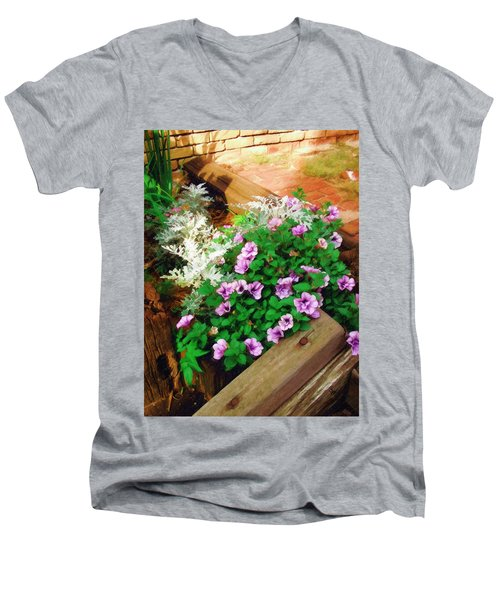 Men's V-Neck T-Shirt featuring the painting A Touch Of Nature by Sandy MacGowan