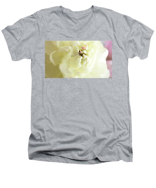 Men's V-Neck T-Shirt featuring the photograph A Touch Of Pink by Wendy Wilton