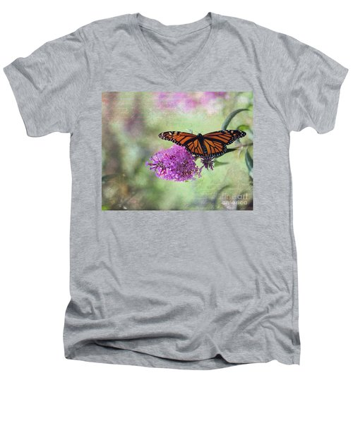 Men's V-Neck T-Shirt featuring the photograph A Touch Of Spring by Laurinda Bowling