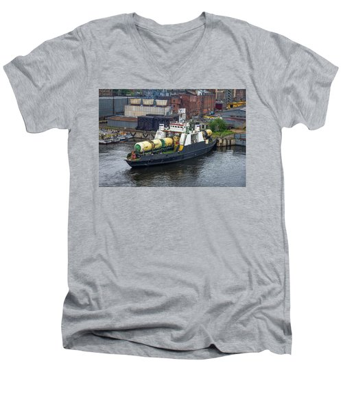 Men's V-Neck T-Shirt featuring the photograph A Train Ferry In St Petersburg Carrying Freight by Clare Bambers
