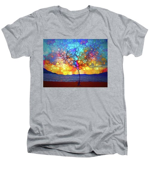 Men's V-Neck T-Shirt featuring the digital art A Tree For A New Season by Tara Turner