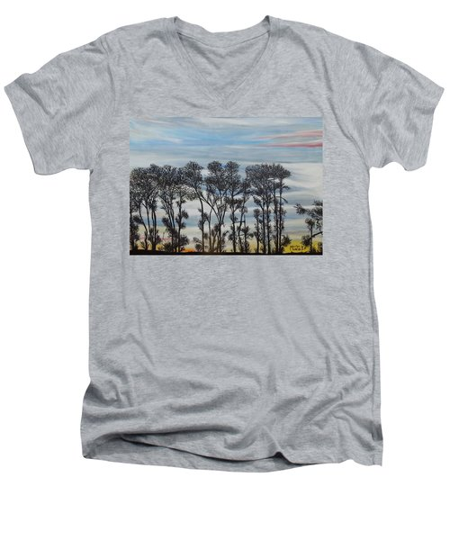 Men's V-Neck T-Shirt featuring the painting A Treeline Silhouette by Marilyn  McNish