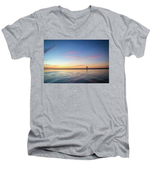 A Twilight Beach Walk Men's V-Neck T-Shirt