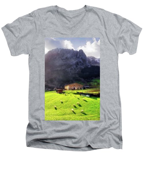 A Typical Basque Country Farmhouse With Sheep Men's V-Neck T-Shirt