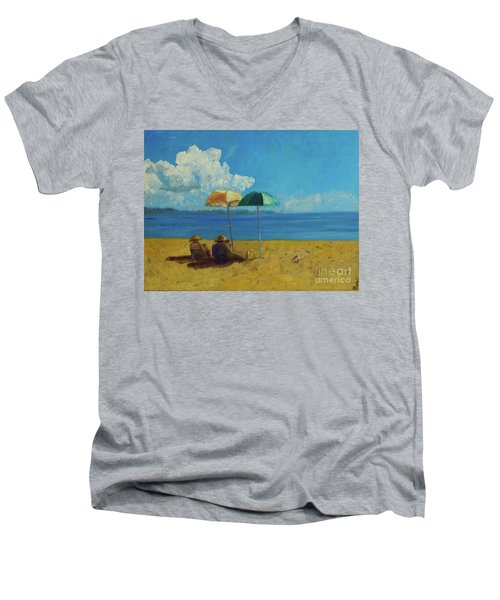 Men's V-Neck T-Shirt featuring the painting A Vacant Lot - Byron Bay by Paul McKey