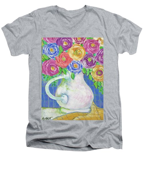 A Vase Full Of Happiness Men's V-Neck T-Shirt by Rosemary Aubut