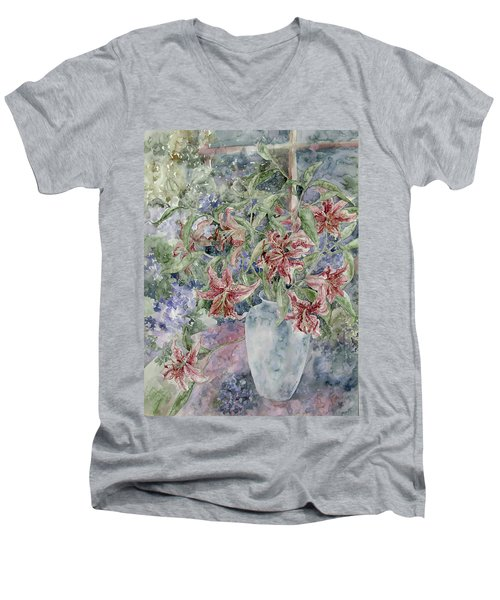 A Vase Of Lilies Men's V-Neck T-Shirt