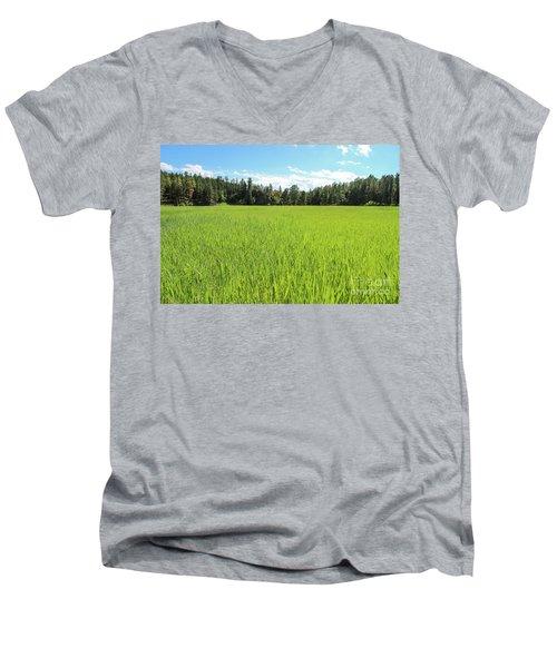 Men's V-Neck T-Shirt featuring the photograph A Very Green Meadow by Bill Gabbert