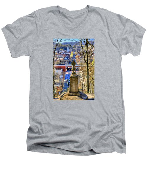 Men's V-Neck T-Shirt featuring the photograph A View From College Hill by DJ Florek