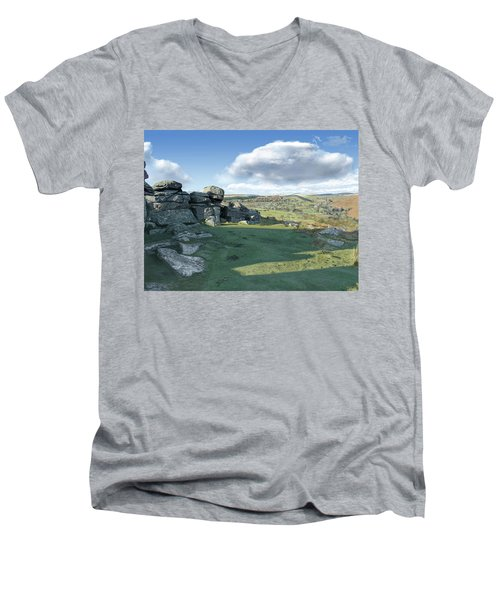 A View From Combestone Tor Men's V-Neck T-Shirt