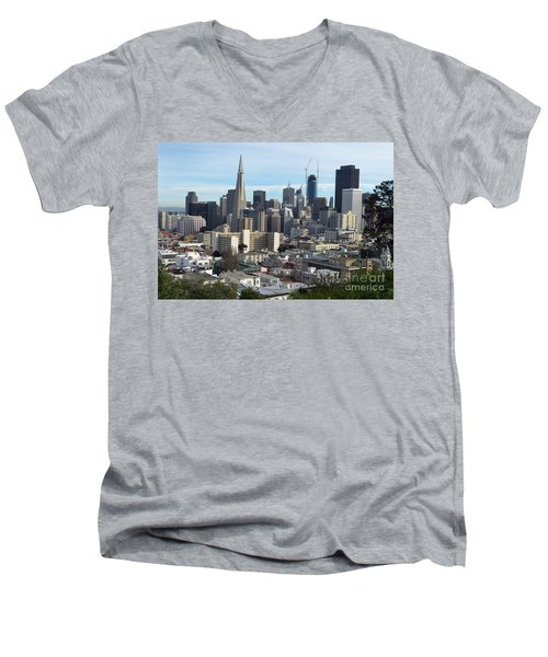A View Of Downtown From Nob Hill Men's V-Neck T-Shirt