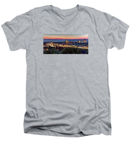 A View Of Florence Men's V-Neck T-Shirt by Brent Durken