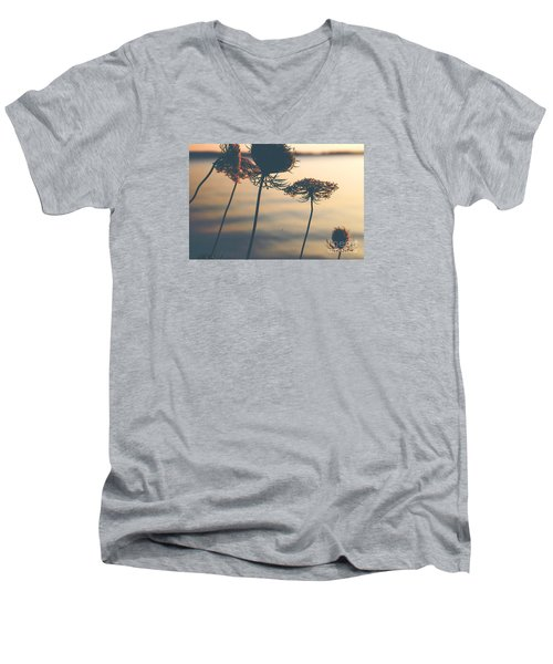 Men's V-Neck T-Shirt featuring the photograph A Vintage Sunset by Rebecca Davis