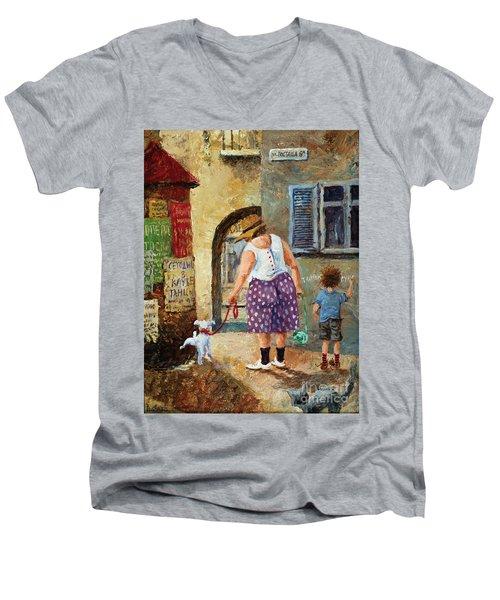 A Walk Down Memory Line Men's V-Neck T-Shirt
